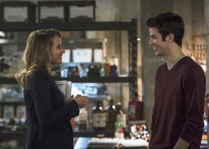"""The Flash -- """"The Fury of Firestorm"""" -- FLA204A_00079b -- Pictured (L-R): Shantel VanSanten as Patty Spivot and Grant Gustin as Barry Allen -- Photo: Cate Cameron /The CW -- © 2015 The CW Network, LLC. All rights reserved."""