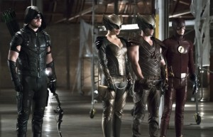 """Arrow -- """"Legends of Yesterday"""" -- Image AR408B_0242b2.jpg --  Pictured (L-R): Stephen Amell as The Arrow, Ciara Renee as Hawkgirl, Falk Hentschel as Hawkman and Grant Gustin as The Flash -- Photo: Katie Yu/ The CW -- © 2015 The CW Network, LLC. All Rights Reserved"""