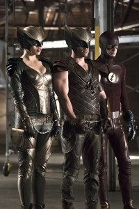 """Arrow -- """"Legends of Yesterday"""" -- Image AR408B_0251b.jpg --  Pictured (L-R): Ciara Renee as Hawkgirl, Falk Hentschel as Hawkman and Grant Gustin as The Flash -- Photo: Katie Yu/ The CW -- © 2015 The CW Network, LLC. All Rights Reserved"""