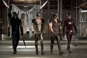 """Arrow -- """"Legends of Yesterday"""" -- Image AR408B_0231b.jpg --  Pictured (L-R): Stephen Amell as The Arrow, Ciara Renee as Hawkgirl, Falk Hentschel as Hawkman and Grant Gustin as The Flash -- Photo: Katie Yu/ The CW -- © 2015 The CW Network, LLC. All Rights Reserved"""