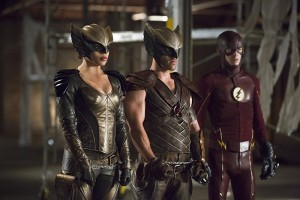 """Arrow -- """"Legends of Yesterday"""" -- Image AR408B_0166b.jpg -- Pictured (L-R): Ciara Renee as Hawkgirl, Falk Hentschel as Hawkman and Grant Gustin as The Flash -- Photo: Katie Yu/ The CW -- © 2015 The CW Network, LLC. All Rights Reserved."""