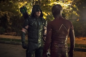 """The Flash -- """"Legends of Today"""" -- Image FLA208B_0258b.jpg -- Pictured (L-R): Stephen Amell as The Arrow and Grant Gustin as The Flash -- Photo: Cate Cameron/The CW -- © 2015 The CW Network, LLC. All rights reserved."""