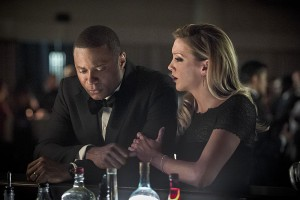 """Arrow -- """"Brotherhood"""" -- Image AR407B_172b.jpg -- Pictured: David Ramsey as John Diggle and Katie Cassidy as Laurel Lance -- Photo: Cate Cameron/The CW -- © 2015 The CW Network, LLC. All Rights Reserved."""