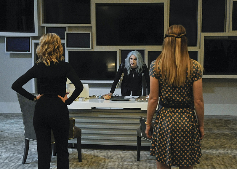 """Livewire"" -- When an accident transforms a volatile CatCo employee into the villainous Livewire (Brit Morgan, center), she targets Cat (Calista Flockhart, left) and Supergirl (Melissa Benoist, right), on SUPERGIRL, Monday, Nov. 23 (8:00-9:00 PM, ET/PT) on the CBS Television Network. Photo: Darren Michaels/Warner Bros. Entertainment Inc. © 2015 WBEI. All rights reserved."