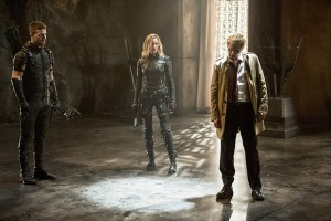 "Arrow -- ""Haunted"" -- Image AR404B_0226b.jpg -- Pictured (L-R): Stephen Amell as The Arrow, Katie Cassidy as Black Canary and Matt Ryan as Constantine -- Photo: Cate Cameron/ The CW -- © 2015 The CW Network, LLC. All Rights Reserved."