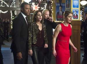 "Arrow -- ""Dark Waters"" -- Image AR409B_0359b.jpg -- Pictured (L-R): David Ramsey as John Diggle, Willa Holland as Thea Queen,  Neal McDonough as Damien Darhk and Emily Bett Rickards as Felicity Smoak -- Photo: Diyah Pera/ The CW -- © 2015 The CW Network, LLC. All Rights Reserved."