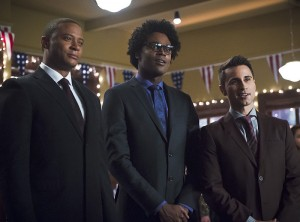 """Arrow -- """"Dark Waters"""" -- Image AR409B_0071b.jpg -- Pictured (L-R): David Ramsey as John Diggle, Echo Kellum as Curtis Holt and Chenier Hundal as Paul  -- Photo: Diyah Pera/ The CW -- © 2015 The CW Network, LLC. All Rights Reserved."""