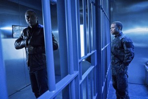 "Arrow -- ""A.W.O.L."" -- Image AR411b_0237b.jpg -- Pictured (L-R): David Ramsey as John Diggle and Eugene Byrd as Andy Diggle -- Photo: Liane Hentscher/ The CW -- © 2016 The CW Network, LLC. All Rights Reserved."