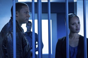 "Arrow -- ""A.W.O.L."" -- Image AR411b_0174b.jpg -- Pictured (L-R): David Ramsey as John Diggle and Cynthia Addai-Robinson as Amanda Waller -- Photo: Liane Hentscher/ The CW -- © 2016 The CW Network, LLC. All Rights Reserved."
