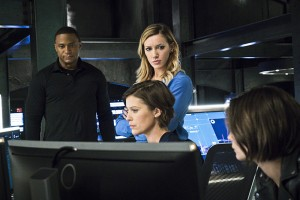 "Arrow -- ""A.W.O.L."" -- Image AR411A_0259b.jpg -- Pictured (L-R): David Ramsey as John Diggle, Katie Cassidy as Laurel Lance, Audrey Marie Anderson as Lyla Michaels and Willa Holland as Thea Queen -- Photo: Liane Hentscher/ The CW -- © 2016 The CW Network, LLC. All Rights Reserved."