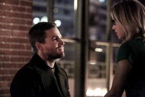 "Arrow -- ""Sins of the Father"" -- Image ARR413a_0079b.jpg -- Pictured (L-R):  Stephen Amell as Oliver Queen and Emily Bett Rickards as Felicity Smoak -- Photo: Bettina Strauss/ The CW -- © 2016 The CW Network, LLC. All Rights Reserved."