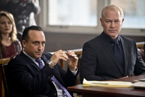 "Arrow -- ""Broken Hearts"" -- Image AR416b_0235b.jpg -- Pictured (L-R) Jason Schombing as Ken Fitzmartin and Neal McDonough as Damien Darhk -- Photo: Diyah Pera /The CW -- © 2016 The CW Network, LLC. All Rights Reserved."