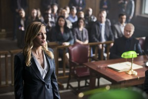 "Arrow -- ""Broken Hearts"" -- Image AR416b_0014b.jpg -- Pictured (L-R): Katie Cassidy as Laurel Lance and Neal McDonough as Damien Darhk -- Photo: Diyah Pera /The CW -- © 2016 The CW Network, LLC. All Rights Reserved."