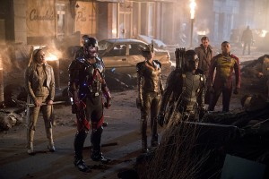 "DC's Legends of Tomorrow -- ""Star City 2046"" -- Image LGN106b_0439b.jpg -- Pictured (L-R): Caity Lotz as Sara Lance/ White Canary, Brandon Routh as Ray Palmer/Atom, Ciara Renee as Kendra Saunders/Hawkgirl, Joseph David-Jones as Connor Hawke / Green Arrow, Arthur Darvill as Rip Hunter, and Franz Drameh as Jefferson ""Jax"" Jackson -- Photo: Diyah Pera/The CW -- © 2016 The CW Network, LLC. All Rights Reserved."