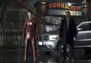 """The Flash -- """"Back to Normal"""" -- Image: FLA219b_0004b.jpg -- Pictured (L-R): Grant Gustin as Barry Allen and Jesse L. Martin as Detective Joe West -- Photo: Katie Yu/The CW -- © 2016 The CW Network, LLC. All rights reserved."""