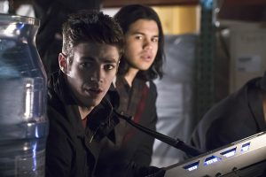 """The Flash -- """"Back to Normal"""" -- Image: FLA219a_0108b.jpg -- Pictured (L-R): Grant Gustin as Barry Allen and Carlos Valdes as Cisco Ramon -- Photo: Katie Yu/The CW -- © 2016 The CW Network, LLC. All rights reserved."""