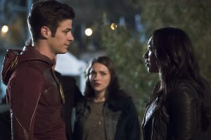 """The Flash -- """"The Race of His Life"""" -- Image: FLA223b_0101b.jpg -- Pictured (L-R): Grant Gustin as Barry Allen, Violett Beane as Jesse Quick and Candice Patton as Iris West -- Photo: Katie Yu/The CW -- © 2016 The CW Network, LLC. All rights reserved."""