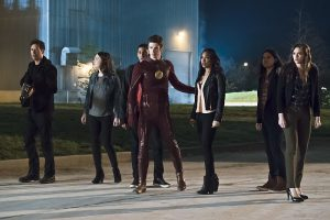 """The Flash -- """"The Race of His Life"""" -- Image: FLA223b_0061b.jpg -- Pictured (L-R): Tom Cavanagh as Harrison Wells, Violett Beane as Jesse Quick, Keiynan Lonsdale as Wally West, Grant Gustin as Barry Allen, Candice Patton as Iris West, Carlos Valdes as Cisco Ramon and Danielle Panabaker as Caitlin Snow -- Photo: Katie Yu/The CW -- © 2016 The CW Network, LLC. All rights reserved."""