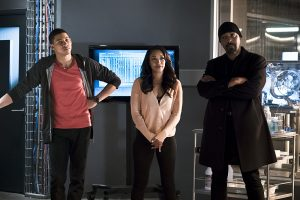 """The Flash -- """"The Race of His Life"""" -- Image: FLA223a_0128b.jpg -- Pictured (L-R): Keiynan Lonsdale as Wally West, Candice Patton as Iris West and Jesse L. Martin as Detective Joe West -- Photo: Katie Yu/The CW -- © 2016 The CW Network, LLC. All rights reserved."""