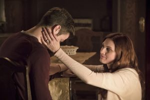 "The Flash -- "" The Runaway Dinosaur"" -- Image: FLA221a_0241b.jpg -- Pictured (L-R): Grant Gustin as Barry Allen and Michelle Harrison as Nora Allen -- Photo: Katie Yu/The CW -- © 2016 The CW Network, LLC. All rights reserved."