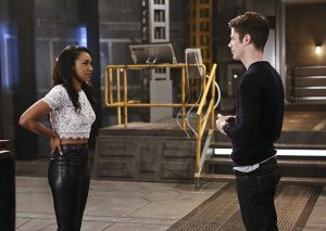 "The Flash -- ""Rupture"" -- Image: FLA220b_0143b.jpg -- Pictured (L-R): Candice Patton as Iris West and Grant Gustin as Barry Allen -- Photo: Bettina Strauss/The CW -- © 2016 The CW Network, LLC. All rights reserved."