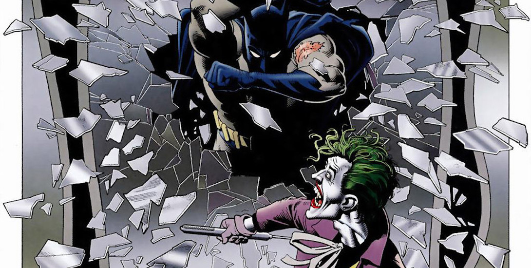Batman crashes in on The Joker