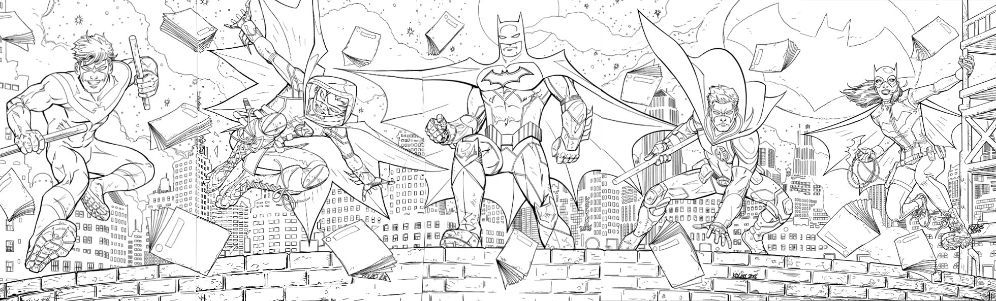 Nightwing, Robin, Batman, Red Robin and Batgirl