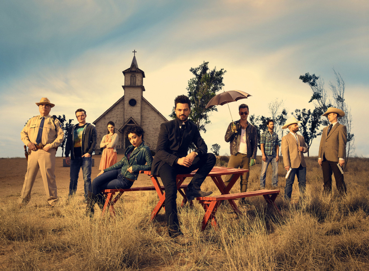 EN-TV-ADAPTATIONS W. Earl Brown as Sheriff Hugo Root, Ian Colletti as Eugene Root, Lucy Griffiths as Emily, Ruth Negga as Tulip O'Hare, Dominic Cooper as Jesse Custer, Joseph Gilgun as Cassidy, Derek Wilson as Donnie Schenck, Anatol Yusef as DeBlanc, Tom Brooke as Fiore; group - Preacher____W. Earl Brown as Sheriff Hugo Root, Ian Colletti as Eugene Root, Lucy Griffiths as Emily, Ruth Negga as Tulip O'Hare, Dominic Cooper as Jesse Custer, Joseph Gilgun as Cassidy, Derek Wilson as Donnie Schenck, Anatol Yusef as DeBlanc, Tom Brooke as Fiore; groupaǬ_- Preacher _ Season 1, Gallery - Photo Credit: Matthias Clamer/AMC Uploaded by: Yeo, Debra