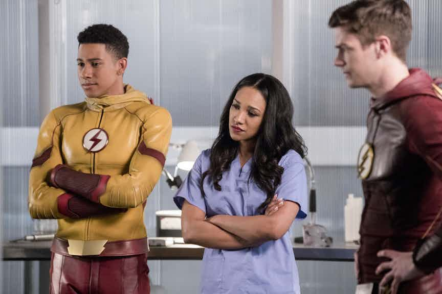 "with story by Andrew Kreisberg and teleplay  The Flash -- "" Abra Kadabra"" -- FLA318a_0317b.jpg -- Pictured (L-R): Keiynan Lonsdale as Wally West, Candice Patton as Iris West and Grant Gustin as Barry Allen -- Photo: Jack Rowand/The CW -- © 2017 The CW Network, LLC. All rights reserved."