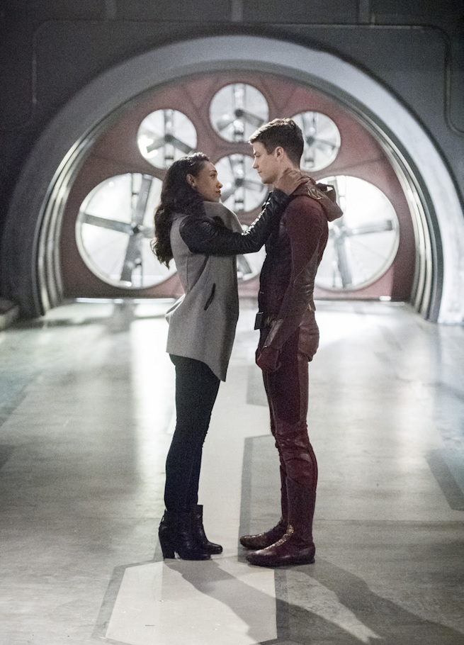 "The Flash -- ""Infantino Street"" -- FLA322a_0201b.jpg -- Pictured (L-R): Candice Patton as Iris West and Grant Gustin as Barry Allen -- Photo: Dean Buscher /The CW -- © 2017 The CW Network, LLC. All rights reserved."