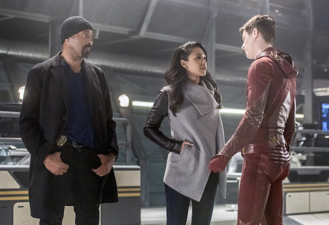"The Flash -- ""Infantino Street"" -- FLA322a_0288b.jpg -- Pictured (L-R): Jesse L. Martin as Detective Joe West, Candice Patton as Iris West and Grant Gustin as Barry Allen -- Photo: Dean Buscher /The CW -- © 2017 The CW Network, LLC. All rights reserved."