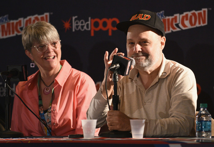MAD Magazine contributors Teresa Burns Parkhurst and Joe Raiola speak during the  Magazine Celebrates 65-Year Legacy With Legendary Creative Team Reunion at New York Comic Con on October 6, 2017 in New York City.  (Photo by Bryan Bedder/Getty Images for Mad Magazine)