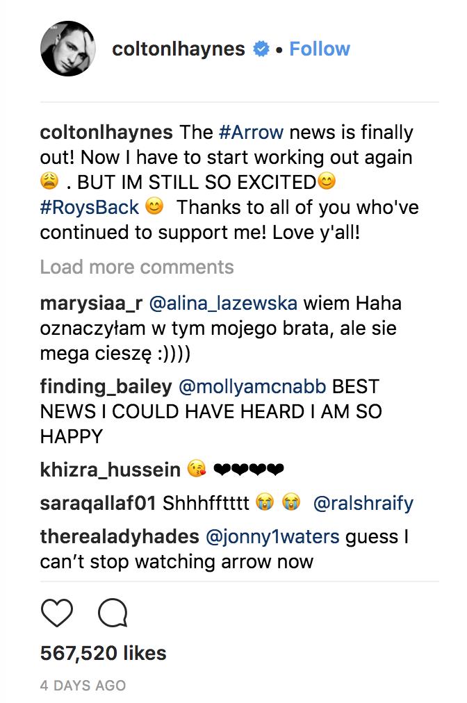 Colton Hayes arrow season 7 dc comics news
