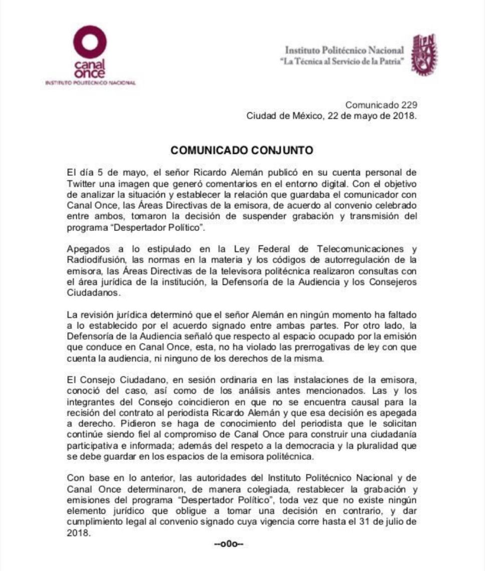 Ricardo Alemán va de nuevo al Canal Once - Diario Basta!