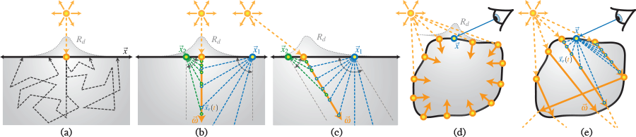 We solve the searchlight problem (a) using a Monte Carlo integration of dipoles distributed along either a normally incident (b) or oblique (c) beam. We can apply our hybrid approach to standard subsurface scattering (d) and also to more complex configurations using photon beams (e).