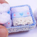 Miniature Bath Towels in a Basket DIY