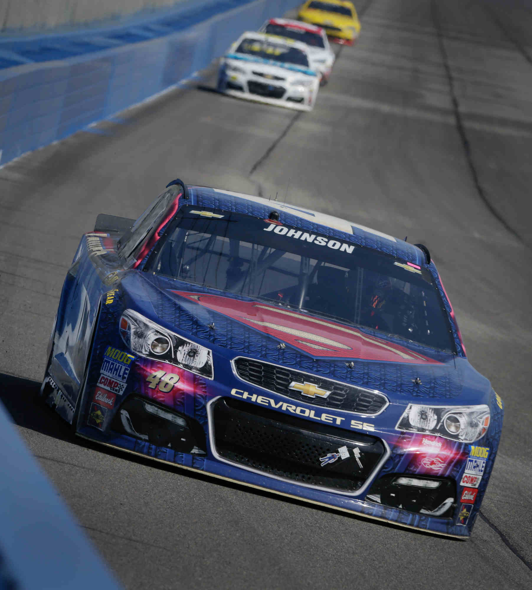 Jimmie Johnson, driver of the #48 LoweÕs/Superman Chevrolet SS, races to his 77th career victory, Sunday, March 20, 2016 in the NASCAR Sprint Cup Series race at Auto Club Speedway in Fontana, California.  (Photo by Garry Eller for Chevy Racing)
