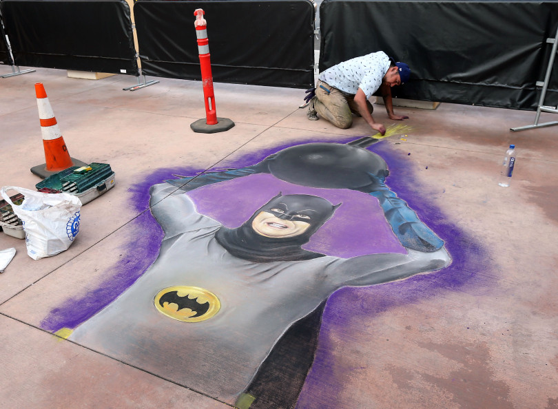 Chalk drawing of Adam West