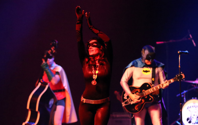 Catwoman dancing with the Batband with Rayford Bros.
