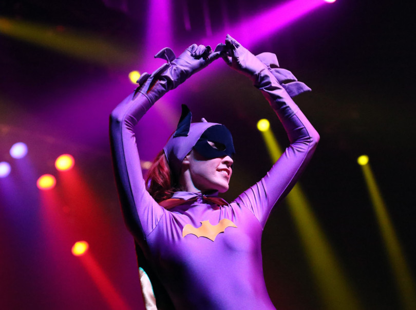 Batgirl dancing with the Batband with Rayford Bros.
