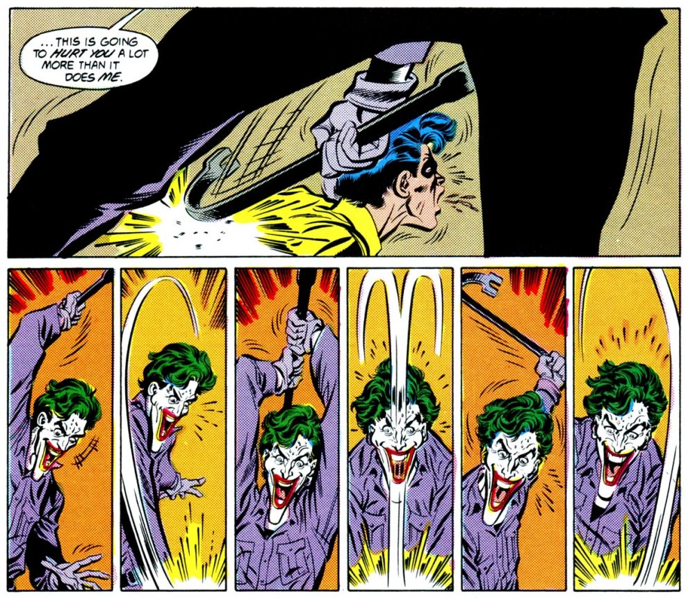 Joker beating Robin (Jason Todd)