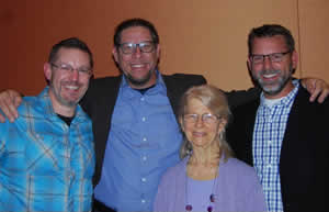 (Pictured:  Jane Willard with DMK co-editors: Aaron Preston, Gregg Ten Elshof and Steve Porter.)