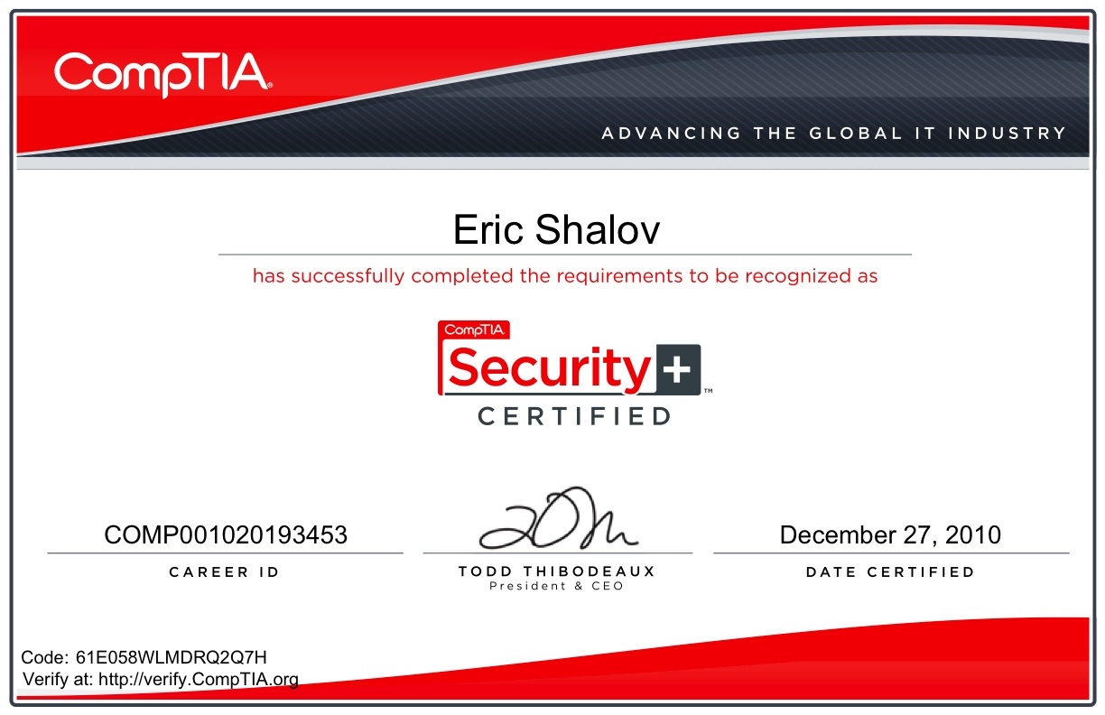 Photo Comptia Security Plus Certification Images