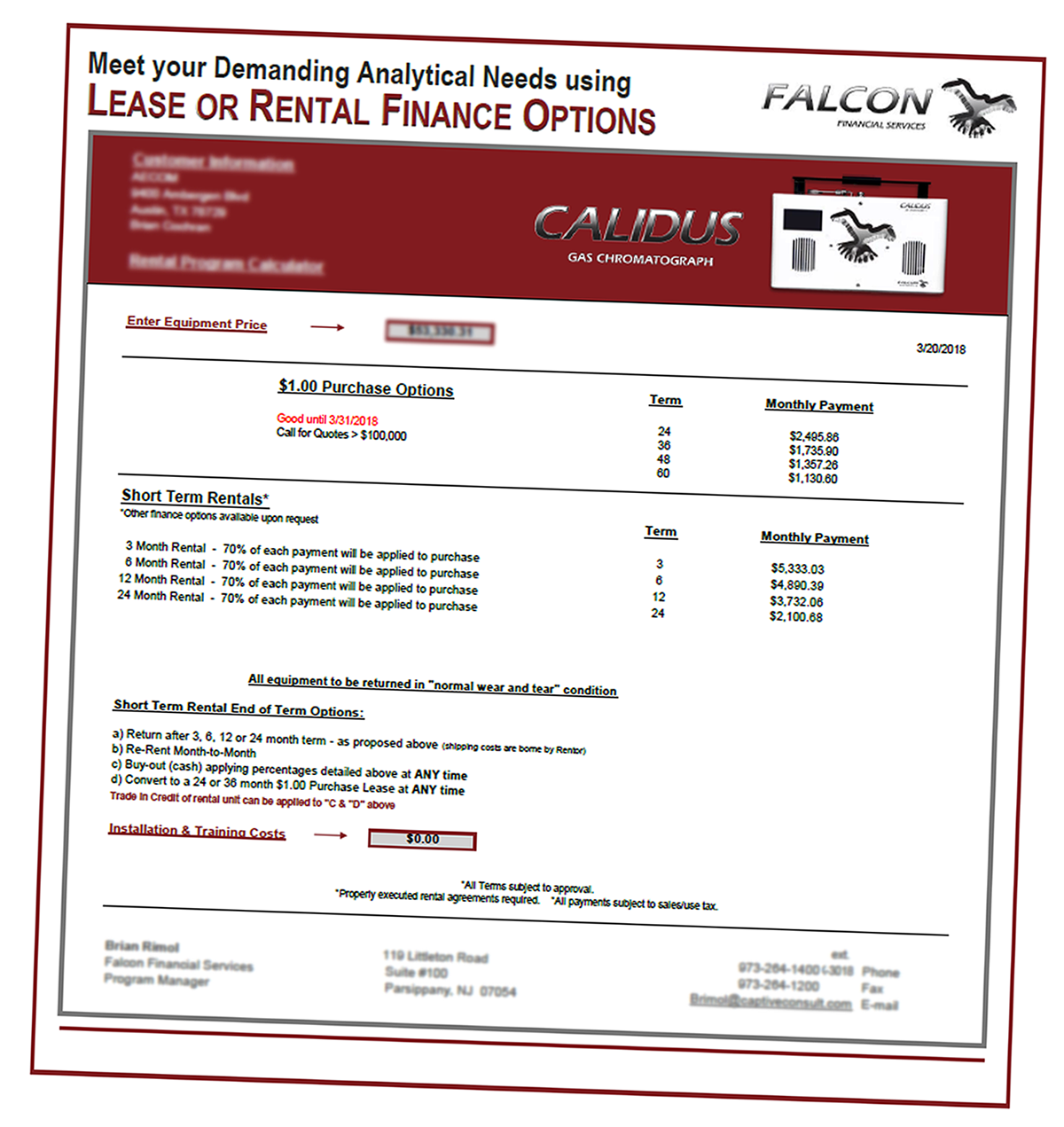 Rentals Leasing Falcon Analytical