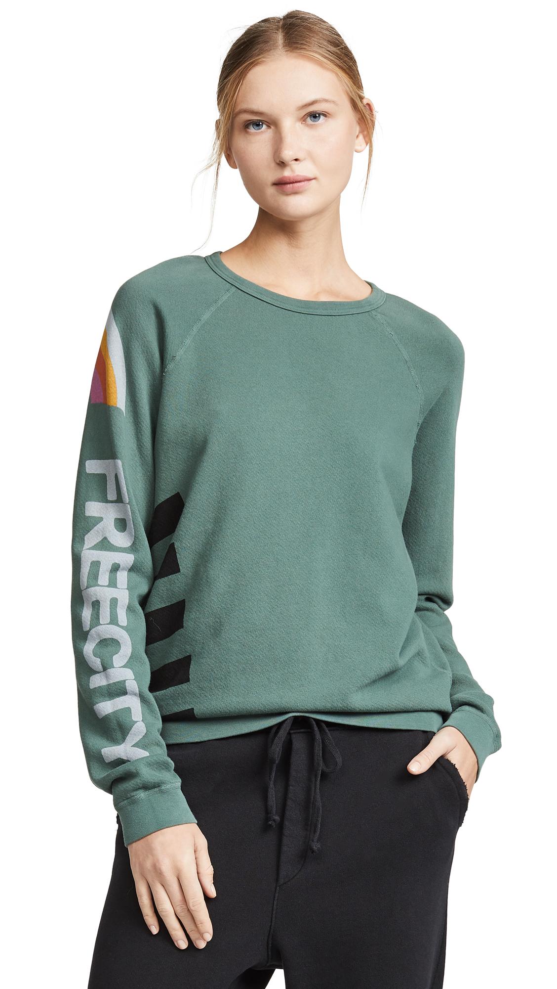 New Free City Unisex Jumpstrikes Raglan Bushjump Printed Pullover Sweater $225