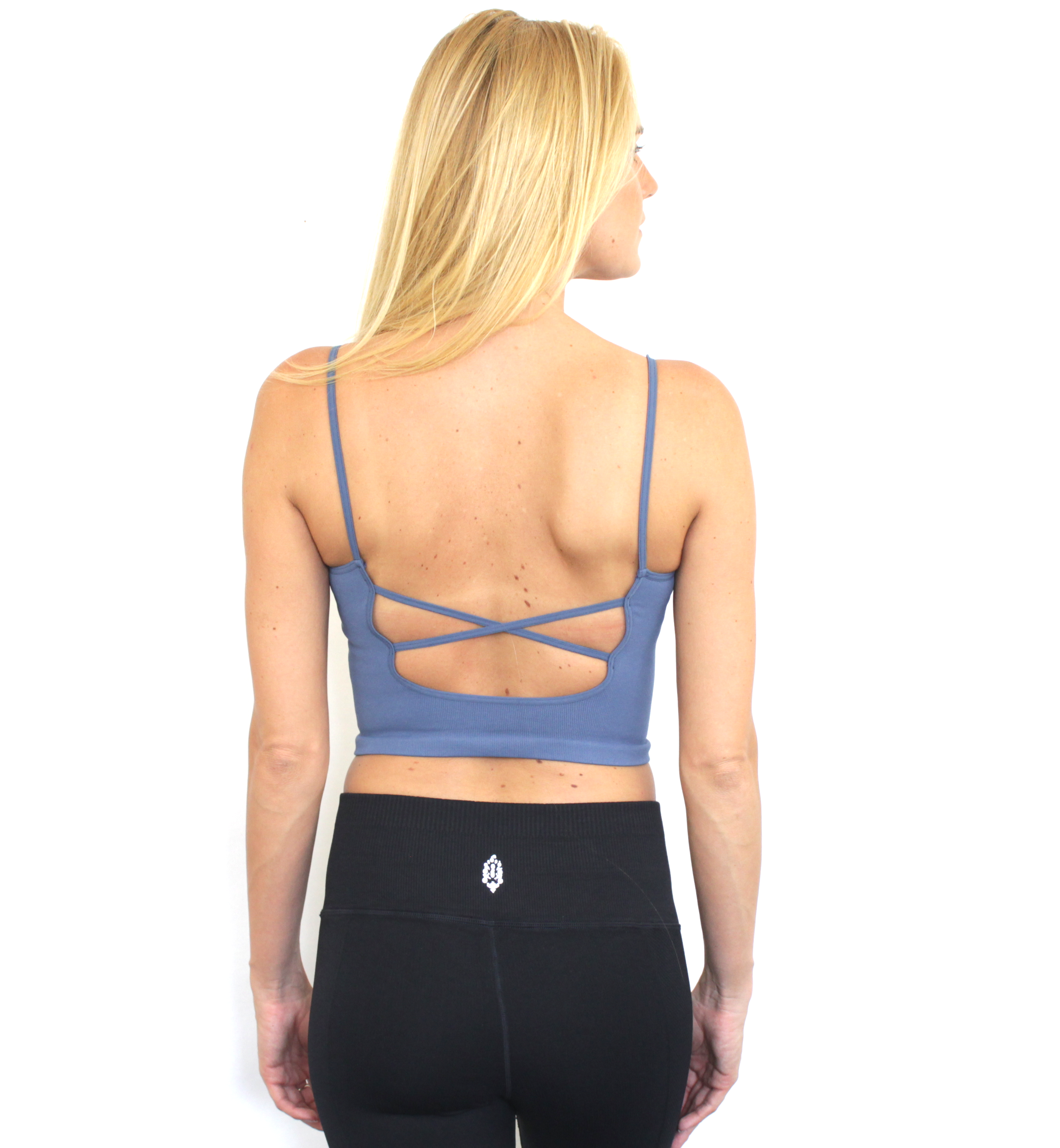 New Free People Womens Seamless Activewear Strappy Back Tighten Up Tank Top $30