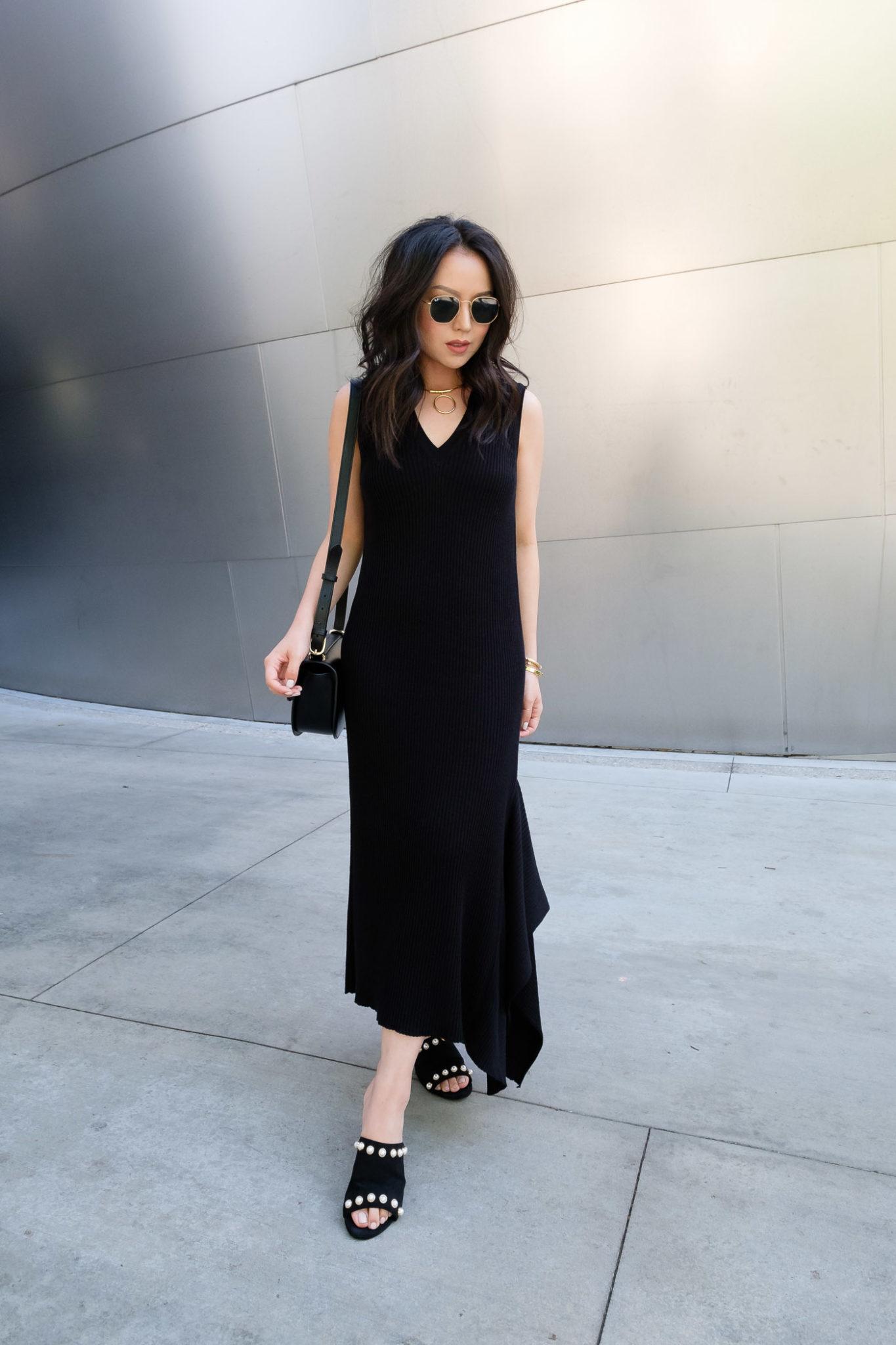 black-midi-dress-pearl-mules-san-francisco-fashion-blog-2