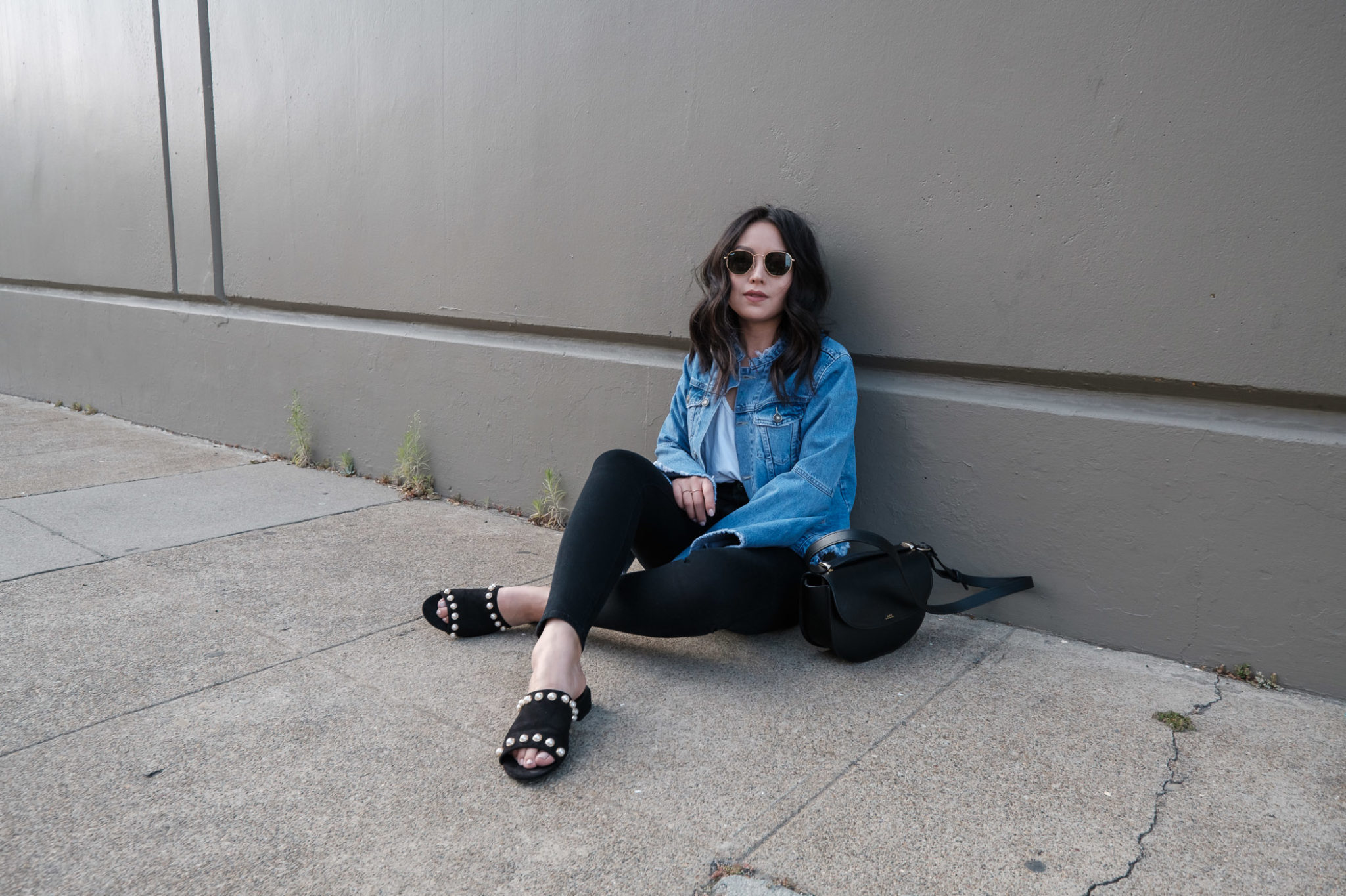 bell-sleeve-denim-jacket-pearl-mules