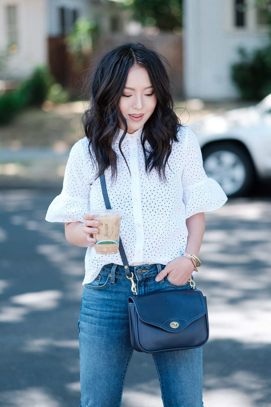 madewell-eyelet-bell-sleeve-shirt-jw-hulme-hugo-flap-bag-who-what-wear-anastasia-buckle-sandals