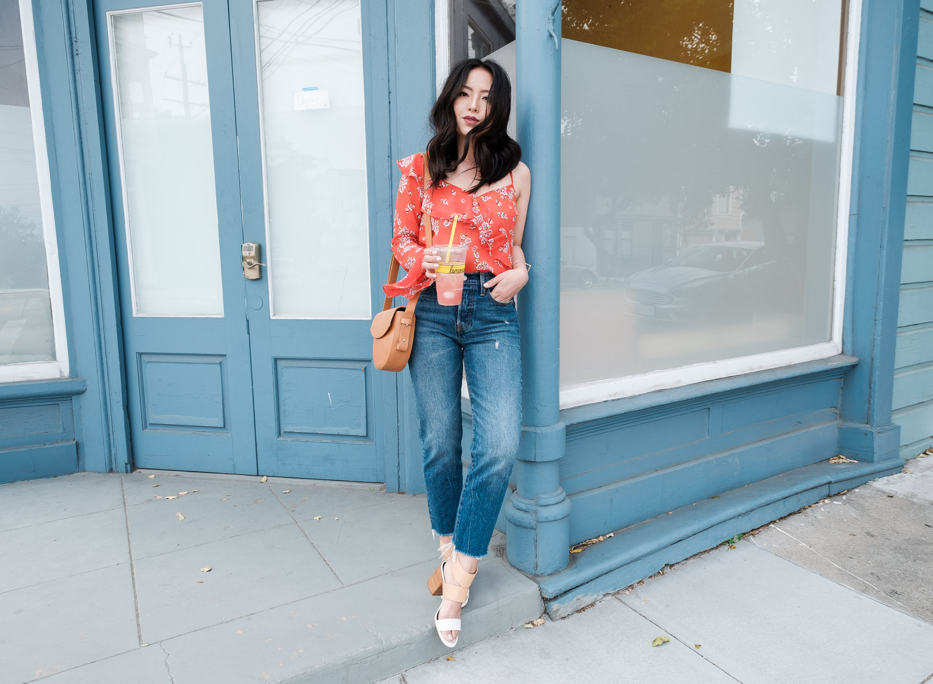 one-shoulder-ruffle-top-levis-wedgie-jeans-petite